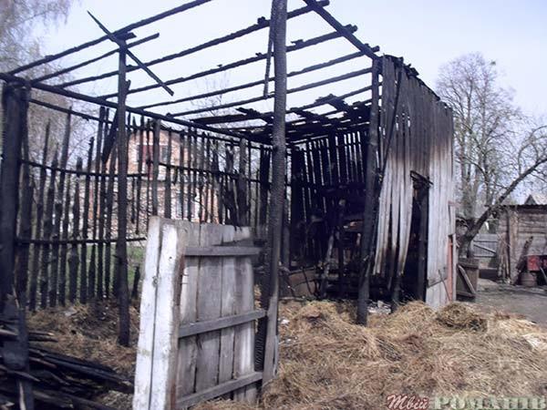 Згорів сінник у Великій Козарі